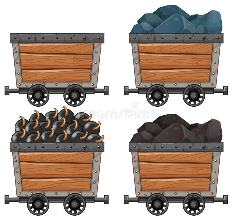 Att bryta vagnar med stenar och bombarderar stock illustrationer