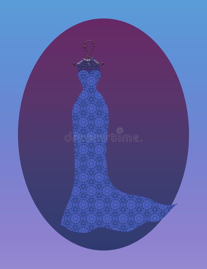 Att charma snör åt den långa klänningen på ett mönstrat stock illustrationer