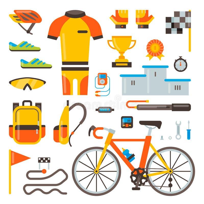 Att cykla på tillbehör för cykelvektorcykeln av cyklisten eller cyklisten i sportar bär kläder med hjälmillustrationuppsättningen stock illustrationer