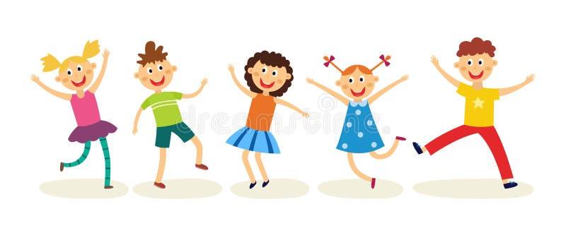 Att dansa ungar ställde in i plan stil - lyckliga glade barn har gyckel, hoppar och dansar isolerat på vit bakgrund vektor illustrationer
