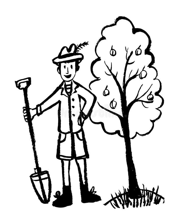 Att dra bilden av en man i en rolig hatt, omslaget och kortslutningar i det trädgårds- arbetet med en skyffel, skissar, klottrar, stock illustrationer