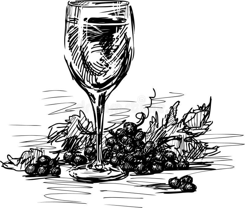 Exponeringsglas av wine och druvor royaltyfri illustrationer