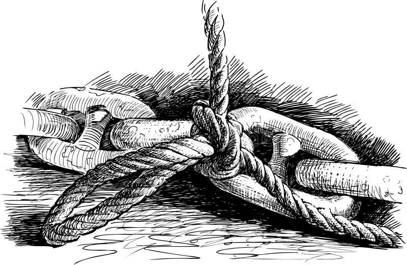 Anchor kedjar och rope stock illustrationer