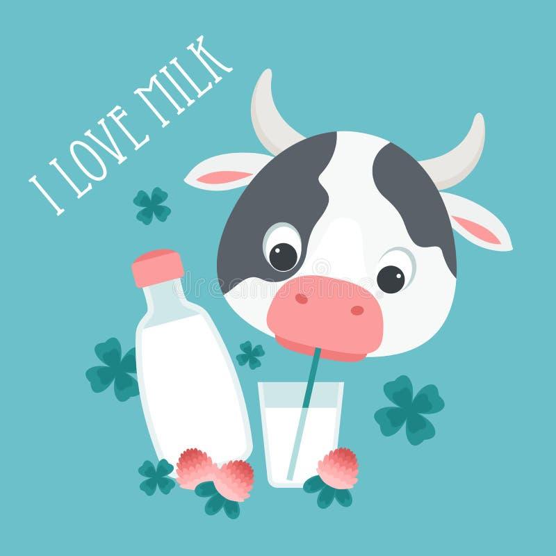 att dricka för ko mjölkar stock illustrationer