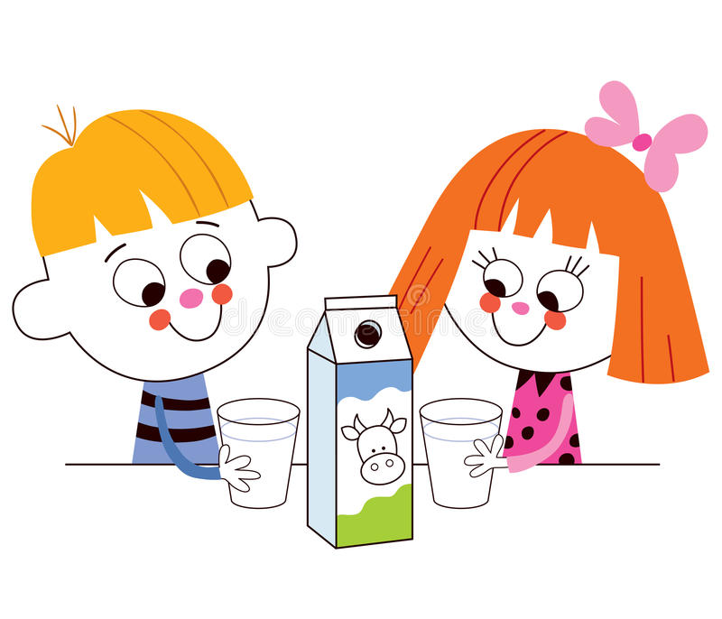 Att dricka för pys och för flicka mjölkar vektor illustrationer
