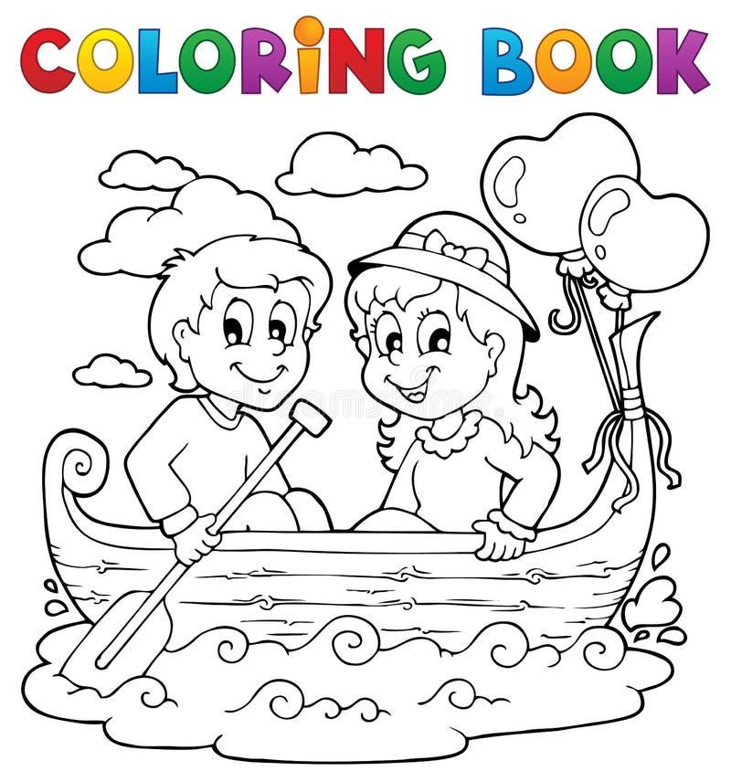 Att färga bokar förälskelse som temat avbildar 1 vektor illustrationer