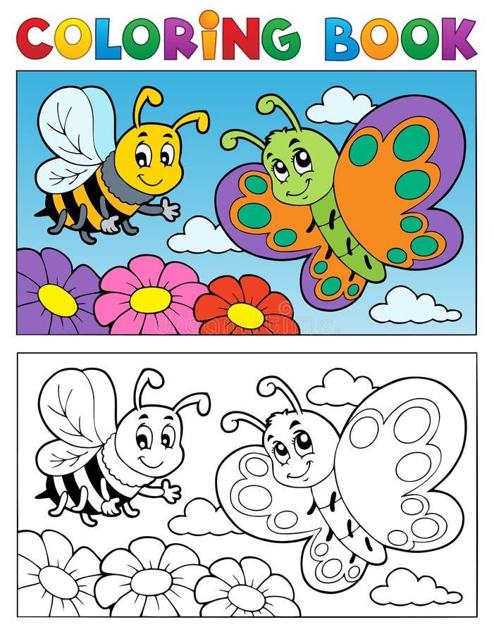 Att färga bokar fjärilstema 2 vektor illustrationer