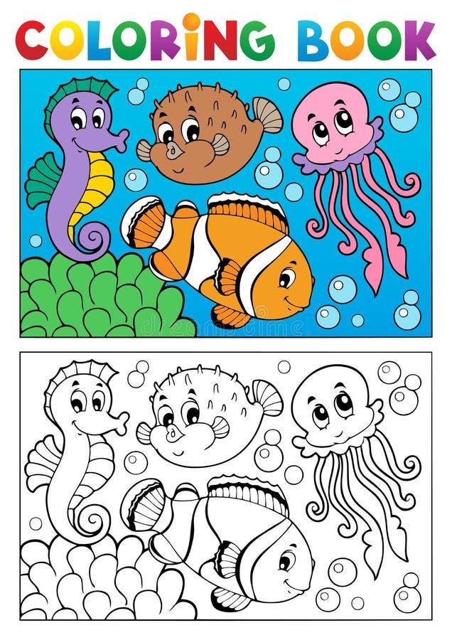Att färga bokar med marin- djur 4 royaltyfri illustrationer