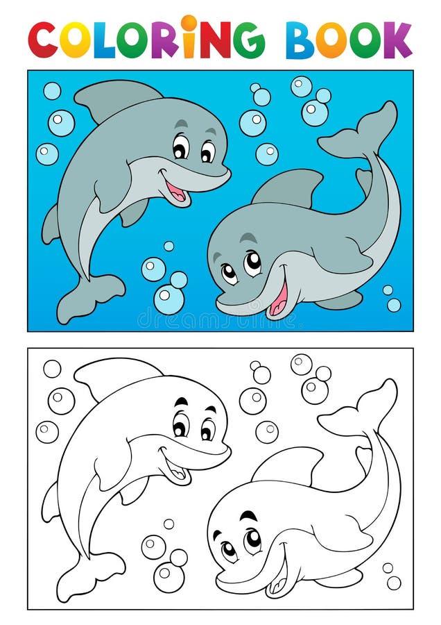 Att färga bokar med marin- djur 7 stock illustrationer