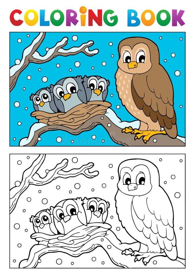 Att färga bokar owltema 1 royaltyfri illustrationer