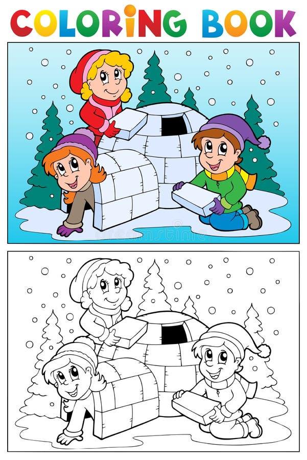 Att färga bokar vinterämne 4 stock illustrationer