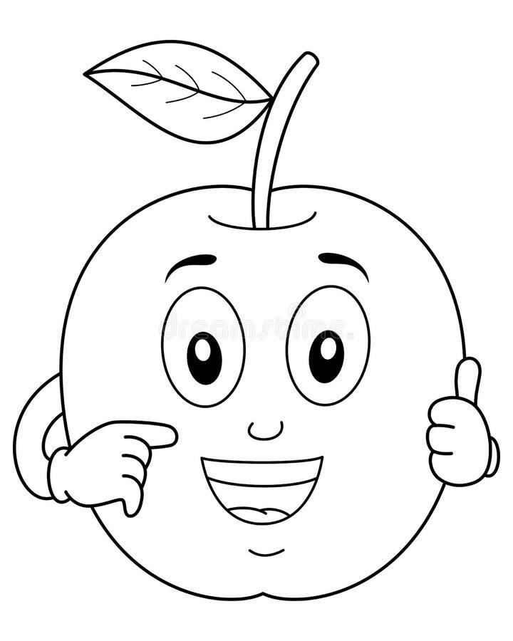 Att färga gulliga Apple tummar upp tecken vektor illustrationer