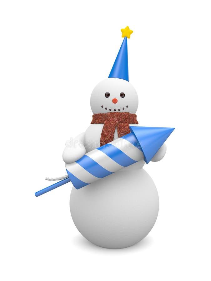 att fästa ihop innehåller snowmanen för bildbanaraket stock illustrationer