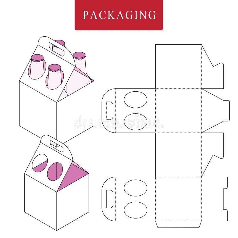 Att f?rpacka f?r kan buteljera Isolerad vit ?terf?rs?ljnings- falsk upVectorillustration av asken stock illustrationer