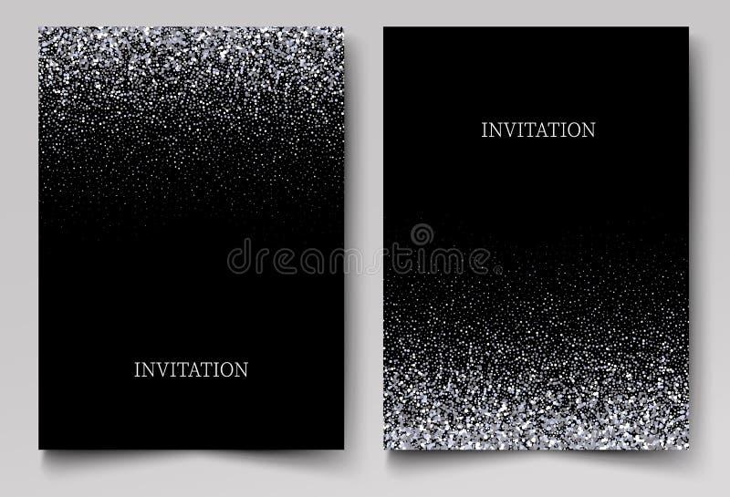 Att falla blänker konfettier Vektorsilverdamm, explosion på svart bakgrund Moussera blänka gränsen, festlig ram stock illustrationer