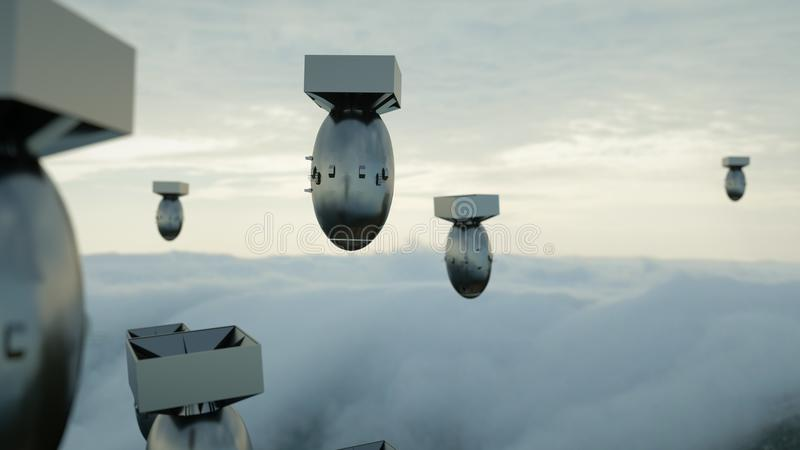 Att falla bombarderar mot den mörka himlen Atom Bomb framförande 3d vektor illustrationer