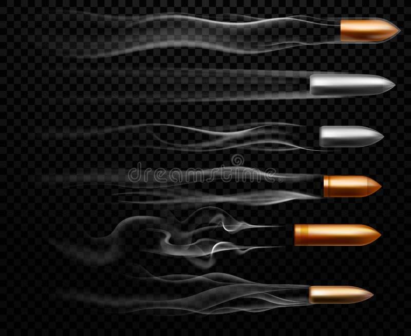 Att flyga kulan spårar Skjuta militär kulrök spåra, handeldvapenforsslingor och den realistiska forsslingavektorn vektor illustrationer