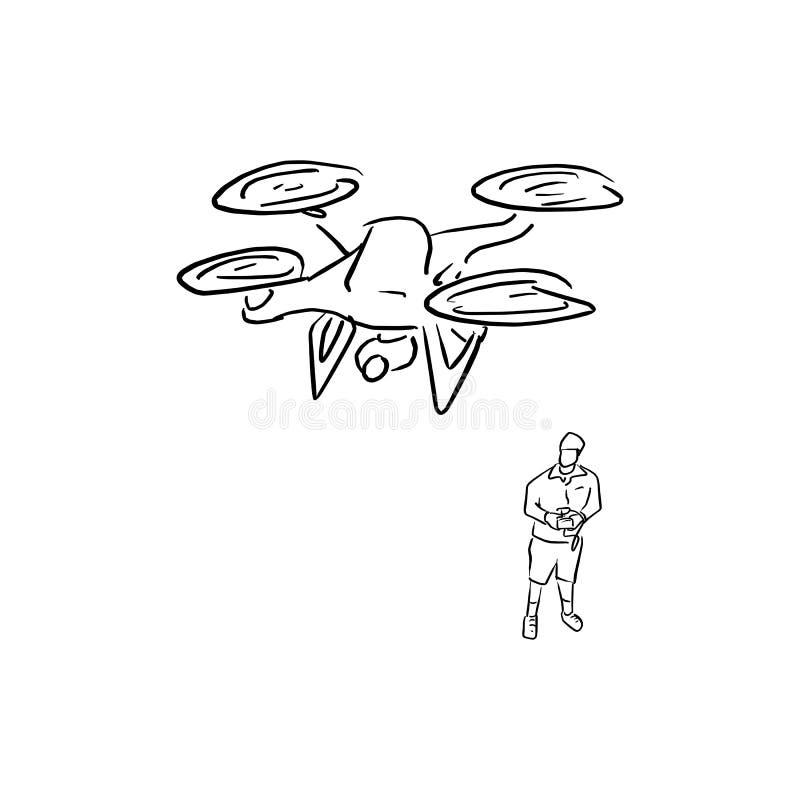 Att fungera för man av illustrationen för flygsurrvektorn skissar klotterhanden som dras med svarta linjer som isoleras på vit ba royaltyfri illustrationer