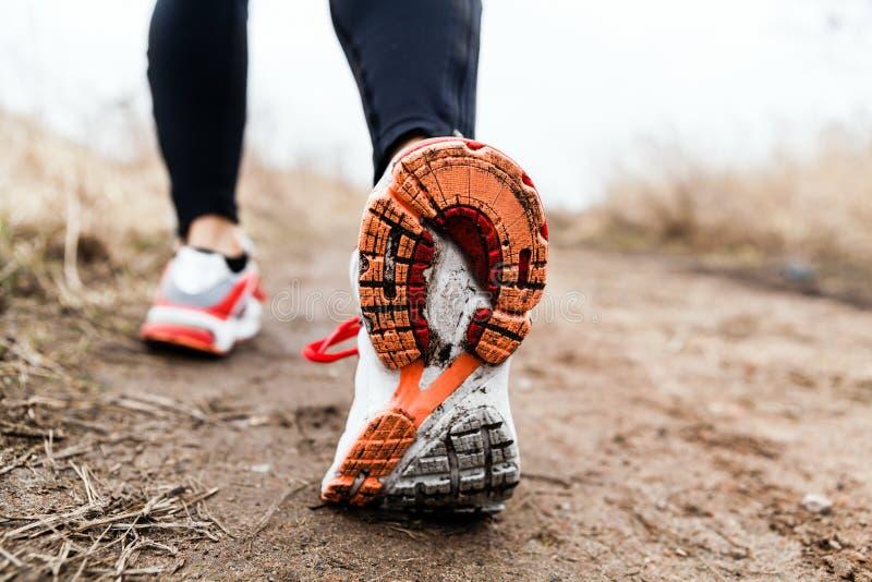 Att gå eller spring lägger benen på ryggen sporten skor royaltyfria bilder