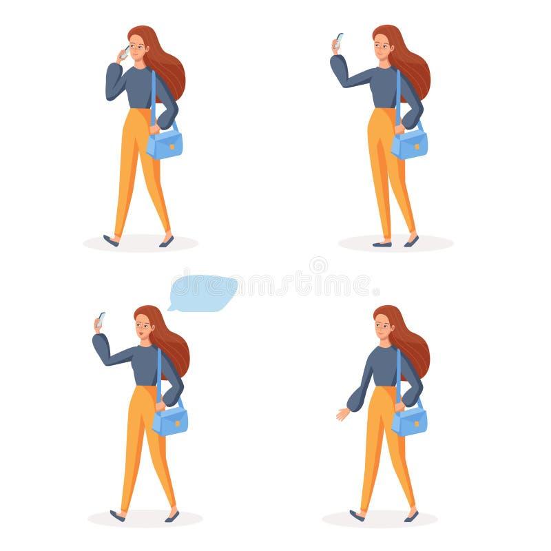 Att gå flickan som använder mobiltelefonen i olikt, poserar Social kommunikationsbegreppsUPPSÄTTNING Le vektorn för tecknad filmt vektor illustrationer