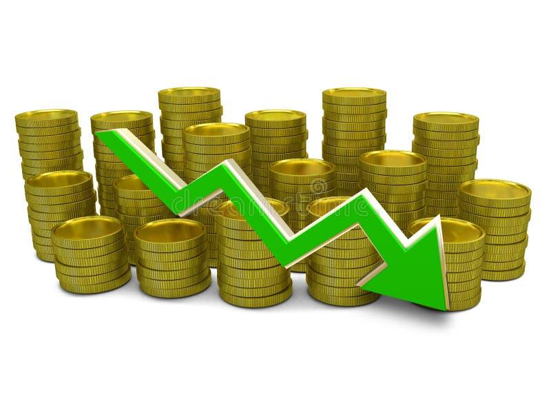 Att gå ned kostar - grafen för finans 3D - valuta- och gräsplanpilen stock illustrationer