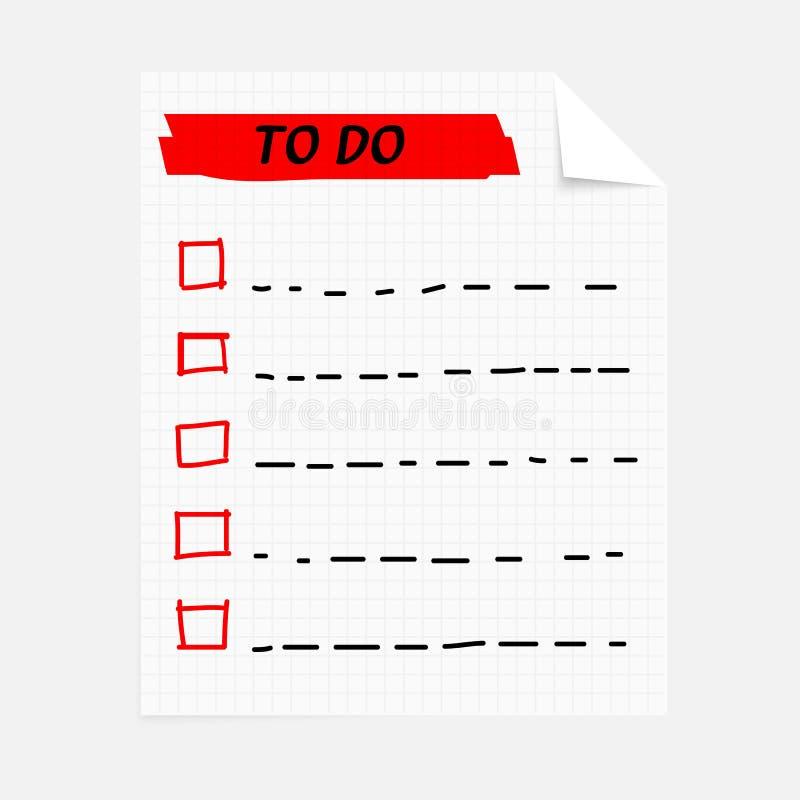 Att göra lista anteckningsboken stock illustrationer