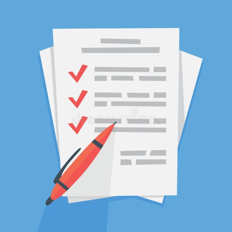 Att att göra listan på det pappers- arket stock illustrationer