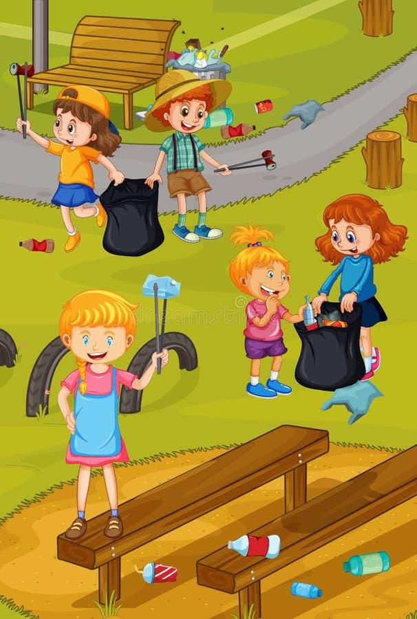 Att göra ren för volontärbarn parkerar vektor illustrationer