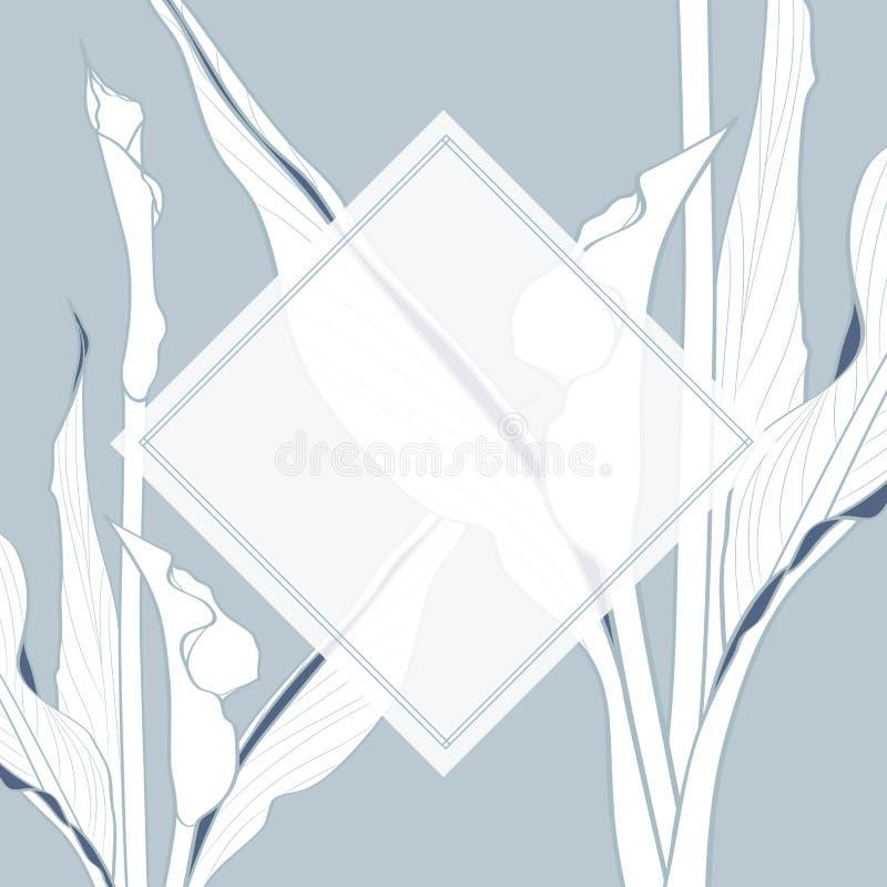 Att gifta sig inbjudan som är blom- inviterar tackar dig, modern kortdesign för rsvp i tropiska växter för blålinjen stock illustrationer