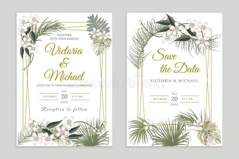 Att gifta sig inbjudankortdesignen som är blom- inviterar Den tropiska djungeln lämnar den eleganta ramuppsättningen, olivgröna g stock illustrationer