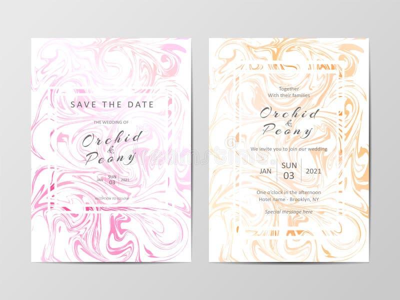 Att gifta sig inbjudankortmallen ställde in med marmortexturbakgrund royaltyfri illustrationer