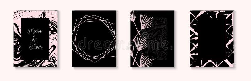 Att gifta sig inbjudankortvektorn ställde in på svart Minsta texturerad räkning, gåvadesign Mall för bröllopinbjudankort stock illustrationer