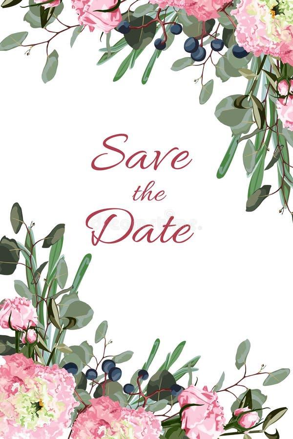 Att gifta sig inviterar design för grönska för inbjudankortvektor blom-: Skogormbunkeormbunksbladet, eukalyptusfilialgräsplan läm royaltyfri illustrationer