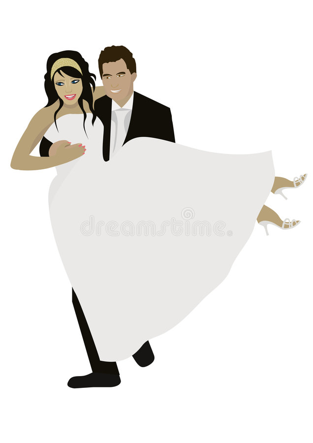 att gifta sig par royaltyfri illustrationer