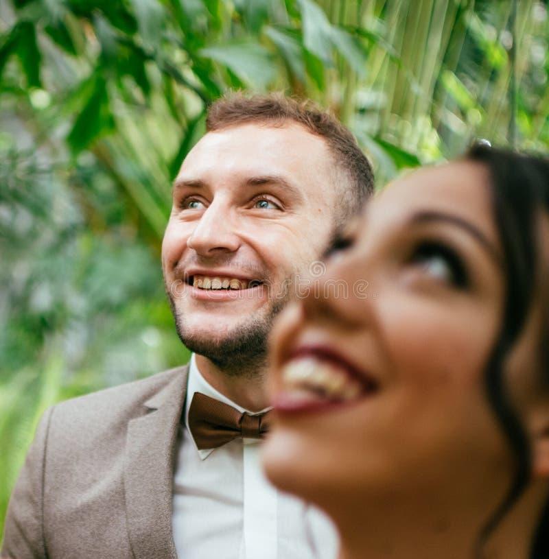 Att gifta sig par inomhus är att krama sig Härlig modellflicka i den vita klänningen Manen passar in Skönhetbrud med brudgummen arkivfoto