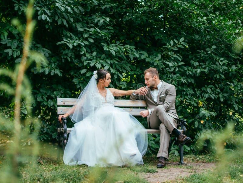 Att gifta sig par inomhus är att krama sig Härlig modellflicka i den vita klänningen Manen passar in Skönhetbrud med brudgummen royaltyfri fotografi