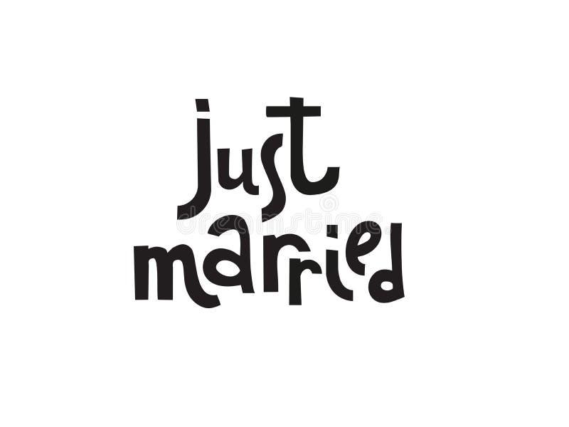 Att gifta sig precis mallar, etiketter, kort Bröllopinbjudan med utdragen bokstäver för hand i enkel stil, isolerad svartvit qout stock illustrationer