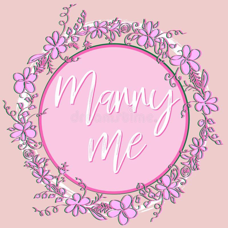 Att gifta sig rosa bakgrund för valentin med stjärnaljus och orden mig royaltyfri illustrationer