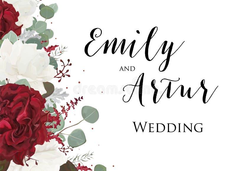 Att gifta sig som är blom-, inviterar, inbjudanräddningen datumkortdesignen med royaltyfri illustrationer