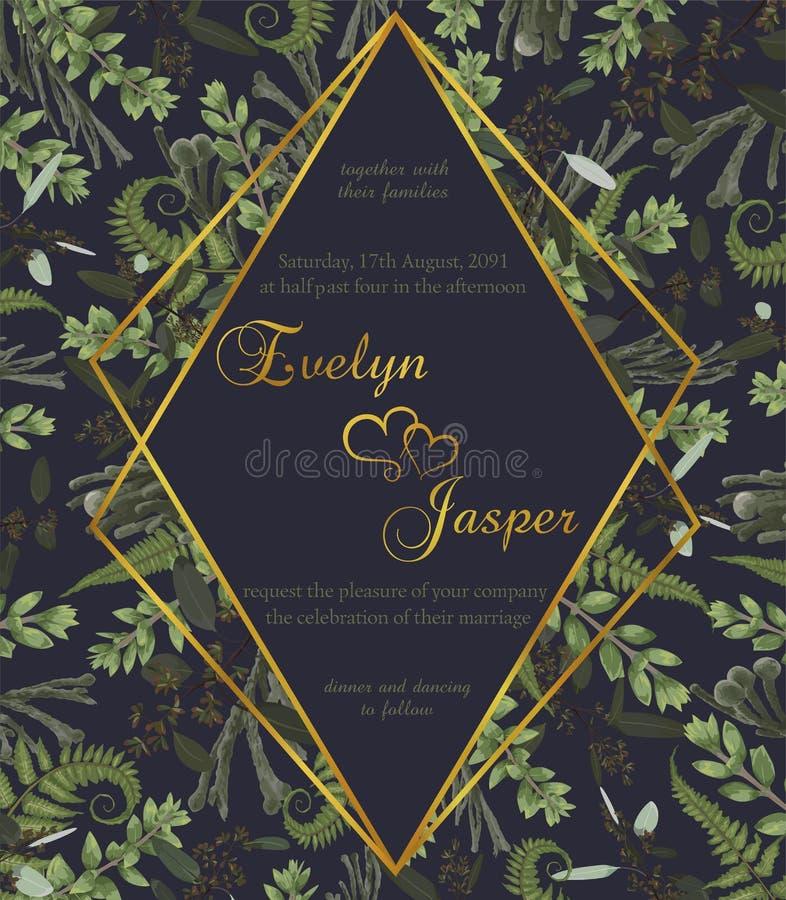Att gifta sig som är blom-, inviterar kortet Blad för skog för vektorvattenfärggräsplan, ormbunke, filialer buxbom, buxus, eukaly royaltyfri illustrationer