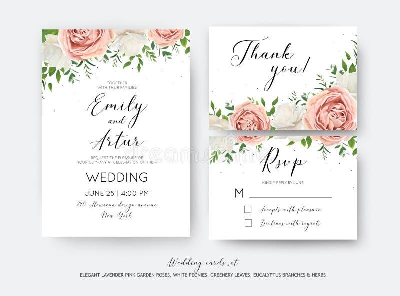 Att gifta sig som är blom-, inviterar, RSVP, tacka dig att card wi för vektordesignuppsättningen stock illustrationer