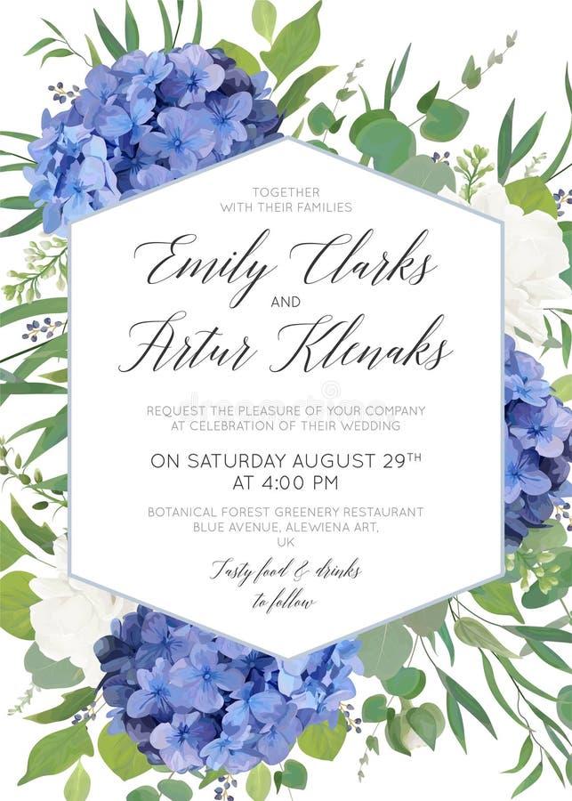 Att gifta sig som är blom-, inviterar, sparar datumet, tacka dig, rsvp, etikettkortdesign med eleganta blåa vanlig hortensiablomm stock illustrationer