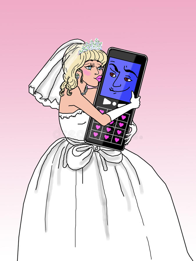 Download Att Gifta Sig Till Den Mobila Telefonen (blondinen Fem.) Stock Illustrationer - Illustration av gift, estetik: 27282806