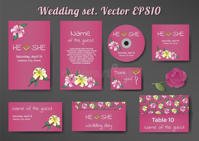 Att gifta sig uppsättningen av kortmallar med liljan blommar royaltyfri bild