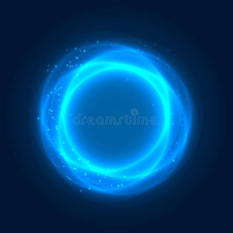 Att glöda ringer med ljusa effekter stock illustrationer