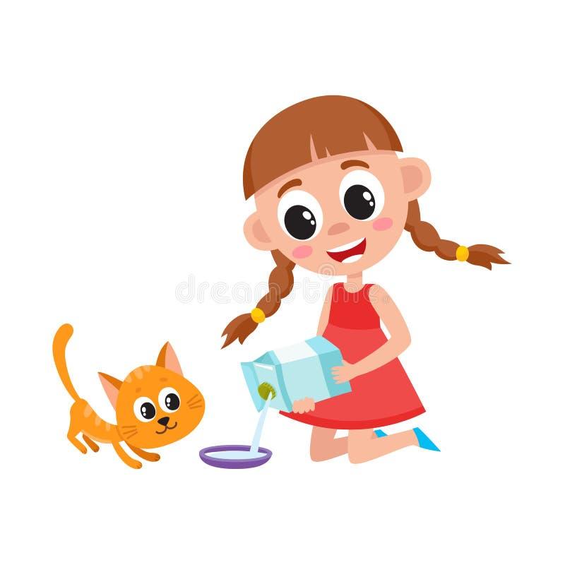 Att hälla för liten flicka mjölkar in i bunken som matar katten stock illustrationer