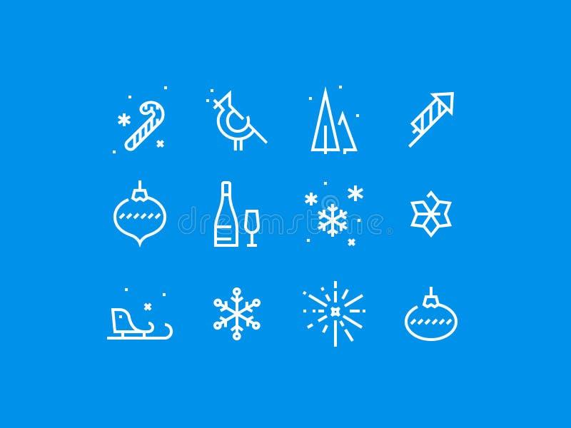 Att hälsa den tjocka linjen perfekt symbol för det nya året för PIXEL ställde in vektor illustrationer