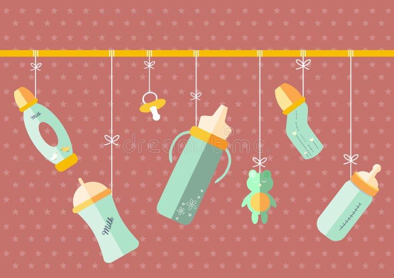 Att hänga av behandla som ett barn mjölkar flaskan, illustrationer stock illustrationer