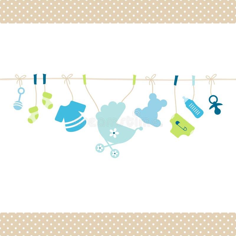 Att hänga behandla som ett barn rak rad Dots Border Beige för pojkesymboler royaltyfri illustrationer