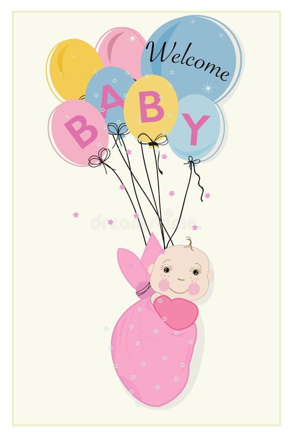 Att hänga lindar behandla som ett barn flickaankomstkortet med ballonger vektor illustrationer